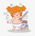 valentine day and cupid with arrow and candies vector image vector image