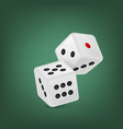 white realistic game dice vector image vector image