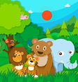 Wild animals in the jungle vector image vector image