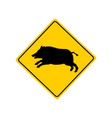 Wild boar warning sign vector image