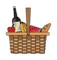 picnic basket food drink lunch design vector image