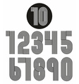 Retro stripes funky numbers set vector image
