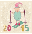 2015 card with cute funny skiing sheep vector image vector image