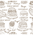background of sketchy fast food vector image