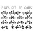 bicycle or different types of bicycle icons thin vector image