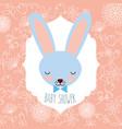 blue rabbit head baby shower label vector image vector image