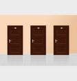 brown wooden doors on a beige wall interior vector image vector image