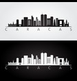 caracas skyline and landmarks silhouette vector image vector image