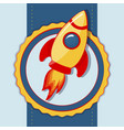 card with space rocket vector image