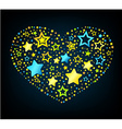 Cartoon star colored heart vector image