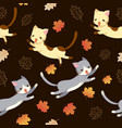 cat and autumn leaves seamless pattern vector image vector image