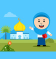 cheerful girl moslem student in front mosque vector image vector image