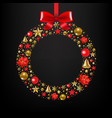 christmas postcard with wreath vector image vector image