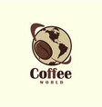 coffee bean symbol flying around the earth vector image
