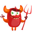 cute cartoon devil monster vector image