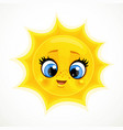 cute cartoon smiling sun isolated on a white vector image