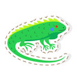 cute iguana cartoon flat sticker or icon vector image