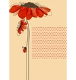 Elegant card with flowers and cute ladybug vector | Price: 1 Credit (USD $1)