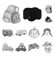 family holiday monochrome icons in set collection vector image vector image