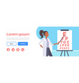 female ophthalmologist checking male patient vector image vector image