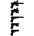 five black handguns vector image vector image