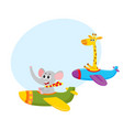 funny animal pilot characters flying on airplane vector image vector image