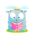 funny monster reading book vector image vector image