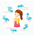 girl with icons set of animals in rainy season vector image vector image