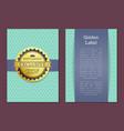 gold label reward guarantee cover design exclusive vector image vector image
