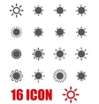 grey sun icon set vector image vector image
