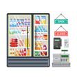 grocery market interior equipment set flat vector image vector image