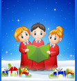 group of children choir in the winter background w vector image