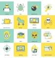 Hacker icons flat line vector image vector image