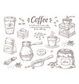 hand drawn coffee vintage italian drink vector image vector image