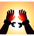 hands with broken chains vector image vector image