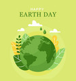happy earth day 22 april world map vector image
