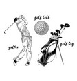 isolated golf set on white background hand-drawn vector image vector image