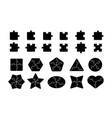 jigsaw elements puzzle shapes template black vector image