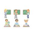 kid reading books set cute elementary school vector image vector image
