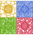 Label design with seamless patterns vector image