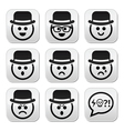Man in hat faces buttons set vector image vector image