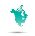 north america map colorful turquoise on white vector image