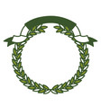 olive branch green crown and ribbon on top vector image vector image