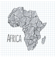Pen hand drawn African map on paper vector image vector image