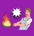 pop art man in kitchen holding pan vector image vector image