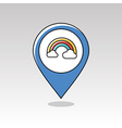 Rainbow in cloud pin map icon Weather vector image