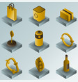 recycling color gradient isometric icons vector image