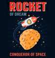 rocket in space flies over a planet with craters vector image vector image