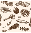 Seamless pattern hand-drawn vegetables in vintage vector image