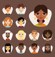 set diverse round avatars with facial features vector image